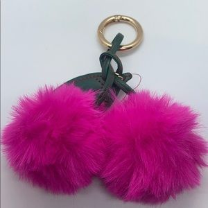 Trendy Furry Cherry Key Chains w/Large Loops